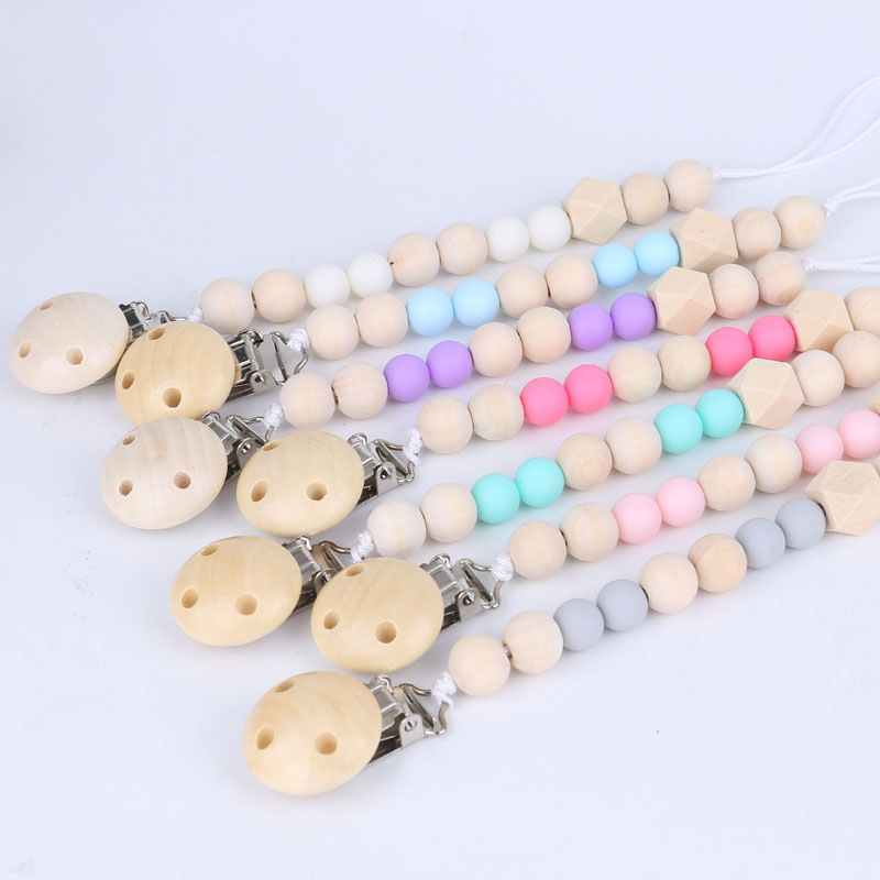 Mambobaby Beaded Baby Pacifier Clips Non-toxic Safety Nipple Dummy Chain Wooden Pacifiers Holder Soother Clip For Baby Feeding