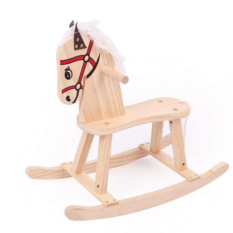 Photography Props for Kids Traditional Pine Wooden Horse Assembleable Rocking Chair Educational Toys Photo Accessories Newborn