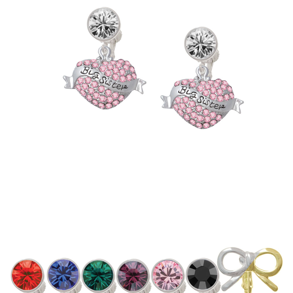 Big Sister Banner on Pink Crystal Heart Crystal Clip On Earrings pair of delicate heart faux pink crystal earrings for women
