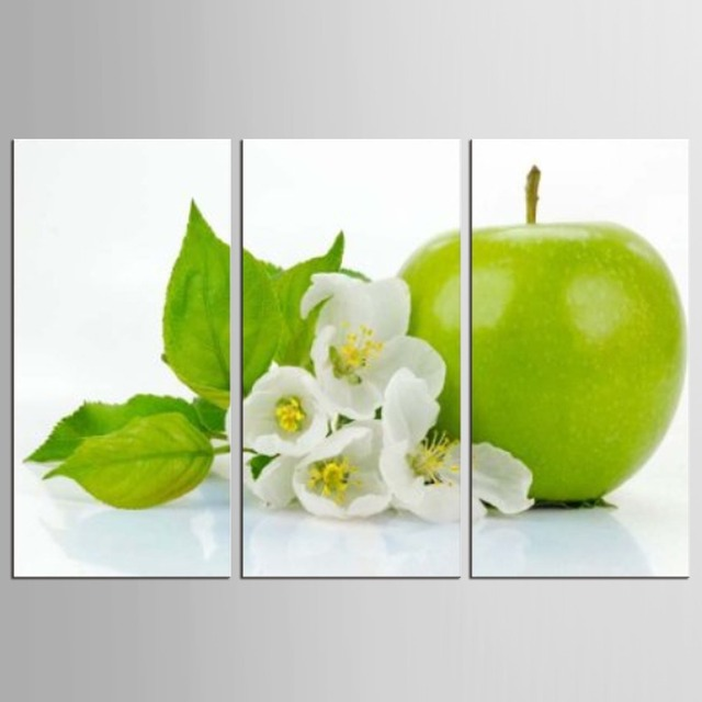 3 Pieces Kitchen Wall Pictures Fruit Painting Print On Canvas Green Apple Modern Dining Room Decoration
