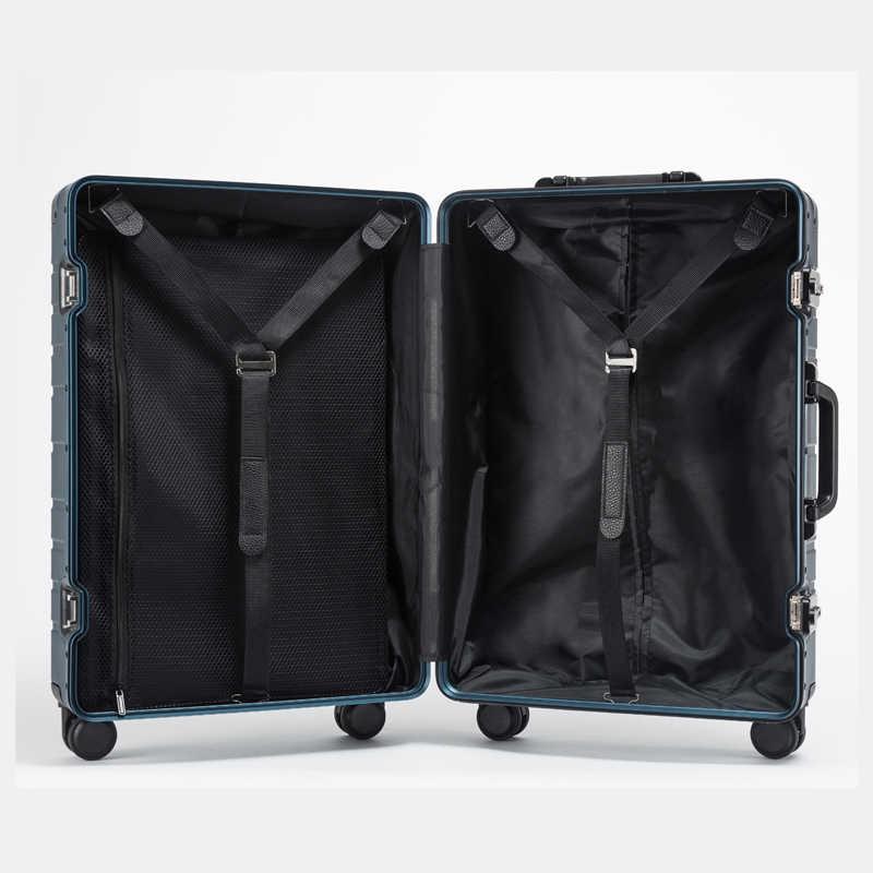 100% Barato alumínio trolley caso mala de viagem sobre rodas carregam no negócio dos homens rolando bagagem Mulheres mala De Cabine grande saco