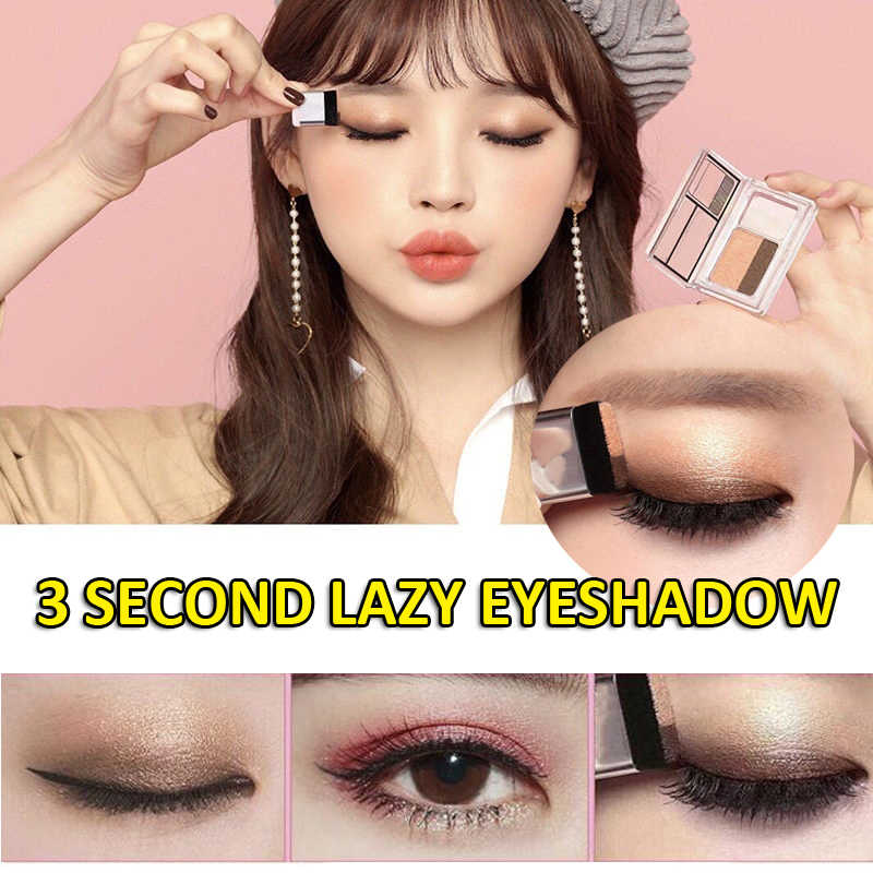 2019 Double Color Lazy Eyshadow Stamp Earth Shimmer Eye Shadow Neutral Smokey Cosmetic Women Makeup Eyeshadows with Brush