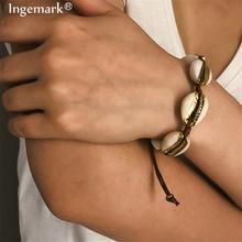 Ingemark Bohemian Big Cowrie Shell Bracelet Anklet Summer Beach Simple Golden Color Seashell Woven Brown Bangle Women Jewelry