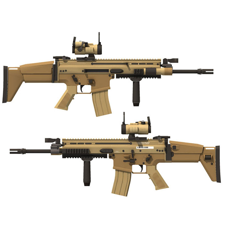 DIY 1:1 FN SCAR-L MK16 Actual Size Papercraft Assault Rifle Paper Model Assemble Hand Work 3D Puzzle Game Kids Toy