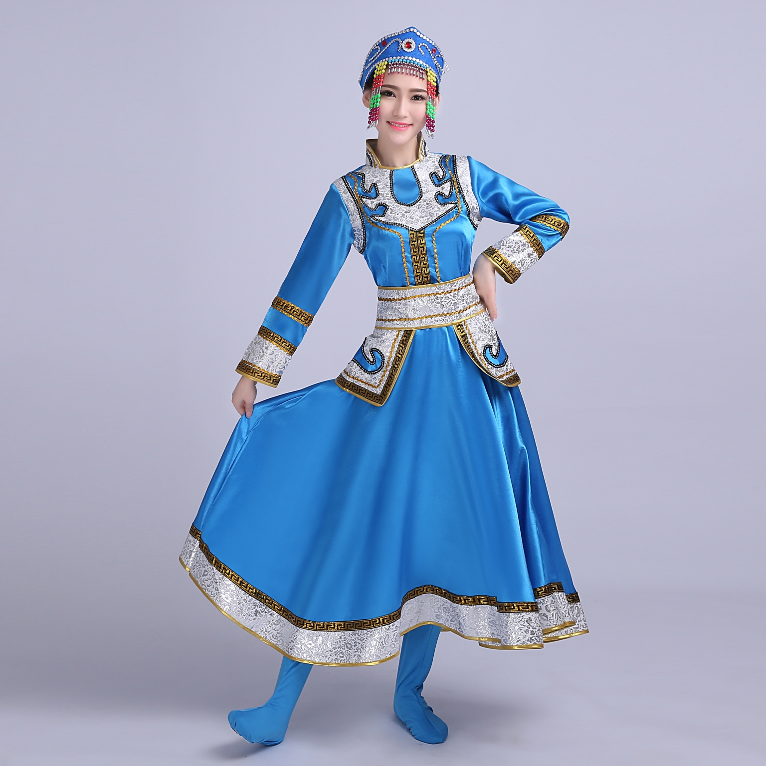 Sky Blue Red Folk Dance Cosplay Stage Performance Dance