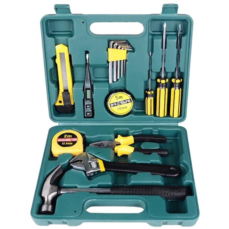 16Pcs Multifuctional Car Repair Tool Kits Screwdriver Wrench Hammer Pliers Combination Household Set Hardware Tool Box