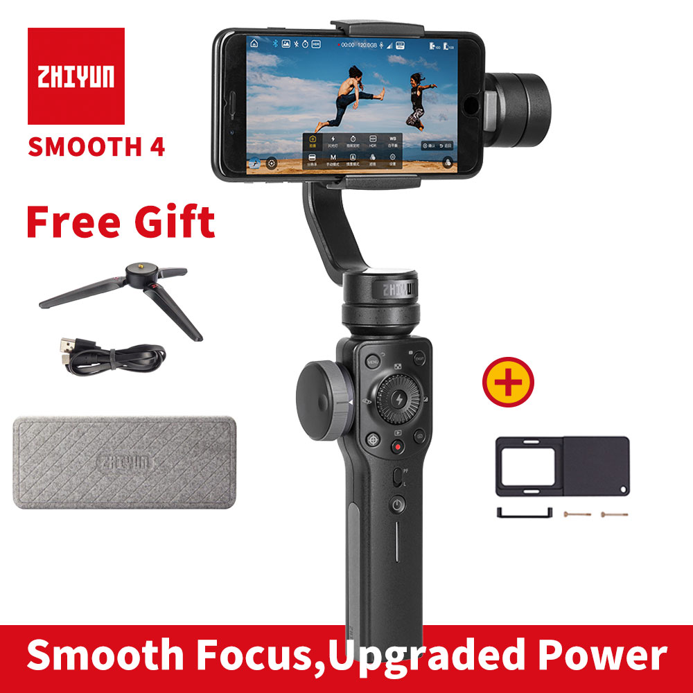 Zhiyun Smooth 4 smartphone Handheld 3 Axis gimbal stabilizer for iphone action camera Gopro Tripod Microphone LED