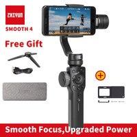 Zhiyun Smooth 4 Смартфон ручной 3 оси gimbal стабилизатор для iphone Экшн камера Gopro штатив микрофон светодио дный