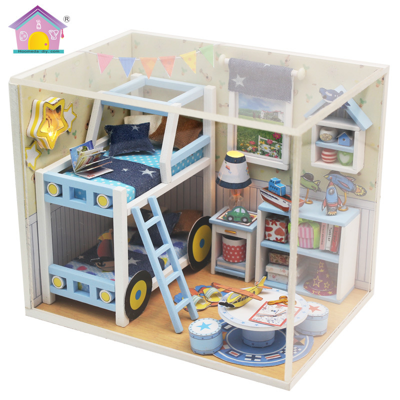 Doll House Diy Miniature 3d Bedroom Miniature Wooden Building Model Furniture Model For Child Toys Birthday Gifts M019 Relieving Heat And Thirst. Doll Houses