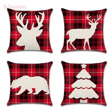 2019 Merry Christmas Throw Pillow Covers Linen blend 2020 New Year oft Cute Throw Pillow Cover Decorative Sofa Pillow Case linen seat cushion merry christmas pillow cover