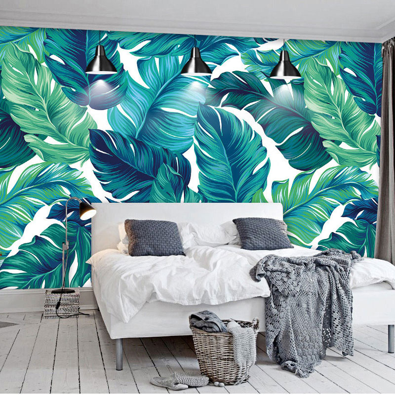 Home Decor Wallcoverings Wallpaper Roll 3d Banana Leaves Wall Papers Mural Self Adhesive Wall Cloth Children Wallpapers 60*280cm beibehang high quality tropical green plantain banana leaves fashion 3d wallpaper roll wall sticker wall paper home decor