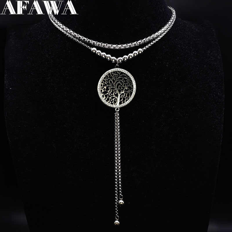 Tree of Life Stainless Steel Charms Necklace Women Silver Color Double Layer Tassel Necklaces Crystal Jewellery collares N18027