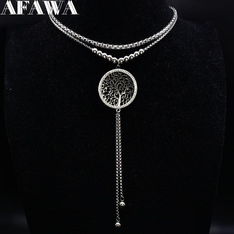 Женское Двухслойное ожерелье из нержавеющей стали с подвеской «Древо жизни»