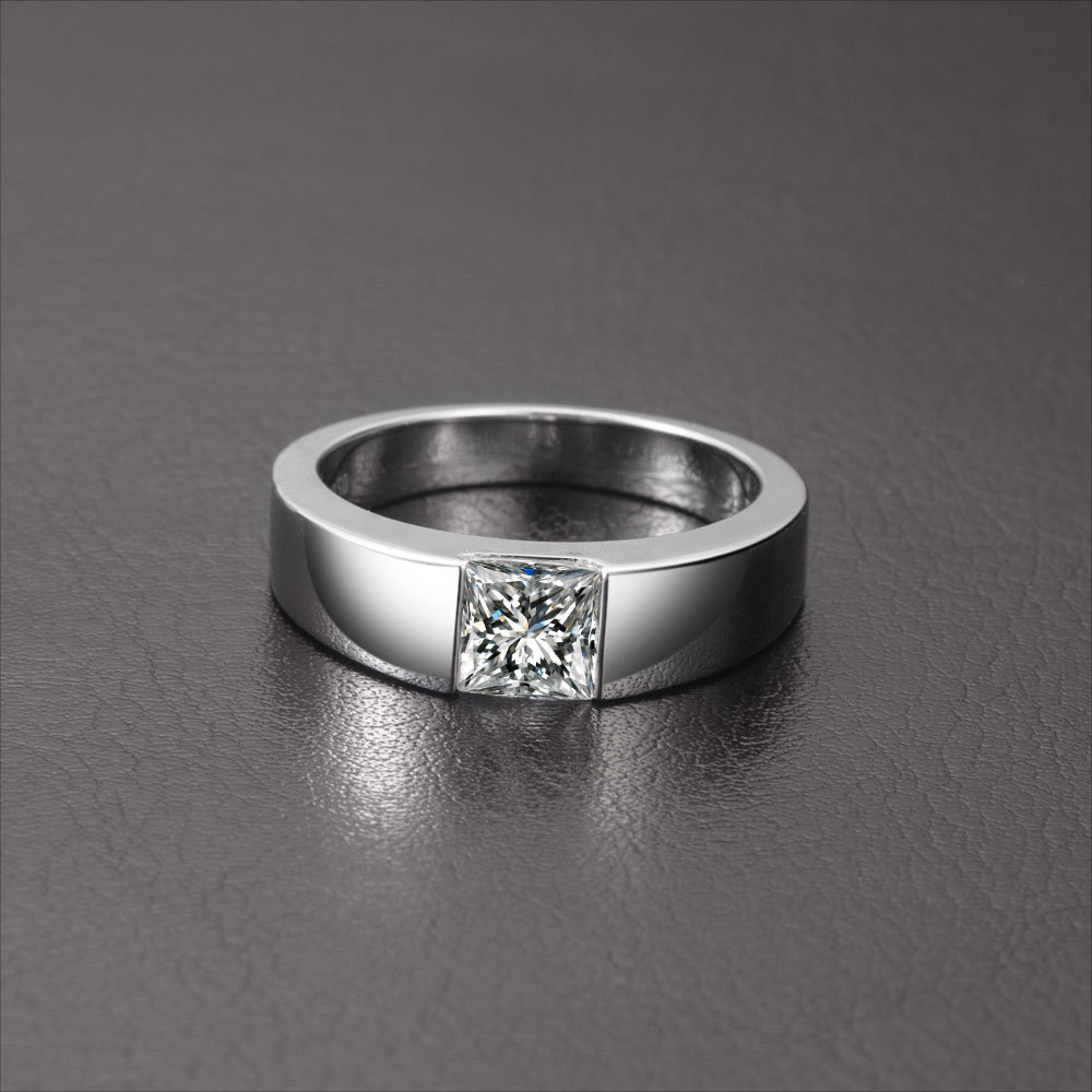 1Ct Princess Cut Solitaire Male Rings Vintage Floating Charms Men