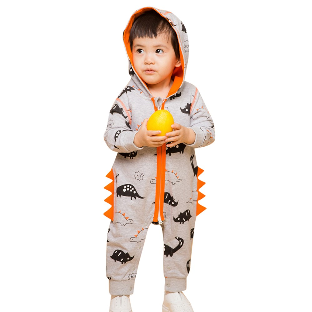 UK Newborn Baby Boy Girl Dinosaur Romper Hooded Jumpsuit Bodysuit Outfit Clothes