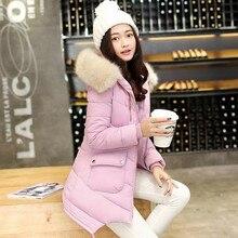 2016 зима женщины slim down ватник Корейской версии длинноволосый воротник куртки с капюшоном
