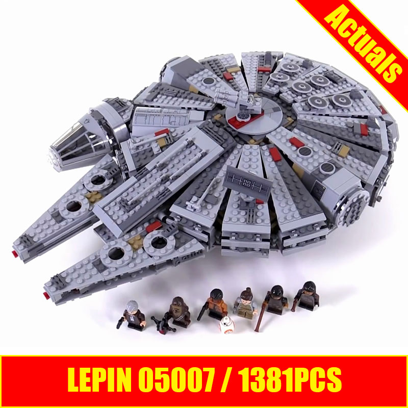 LEPIN 05007 Star Series War 1381pcs Building Blocks Force Awakens Millennium Toys Falcon Model Kids Christmas Gits 75105