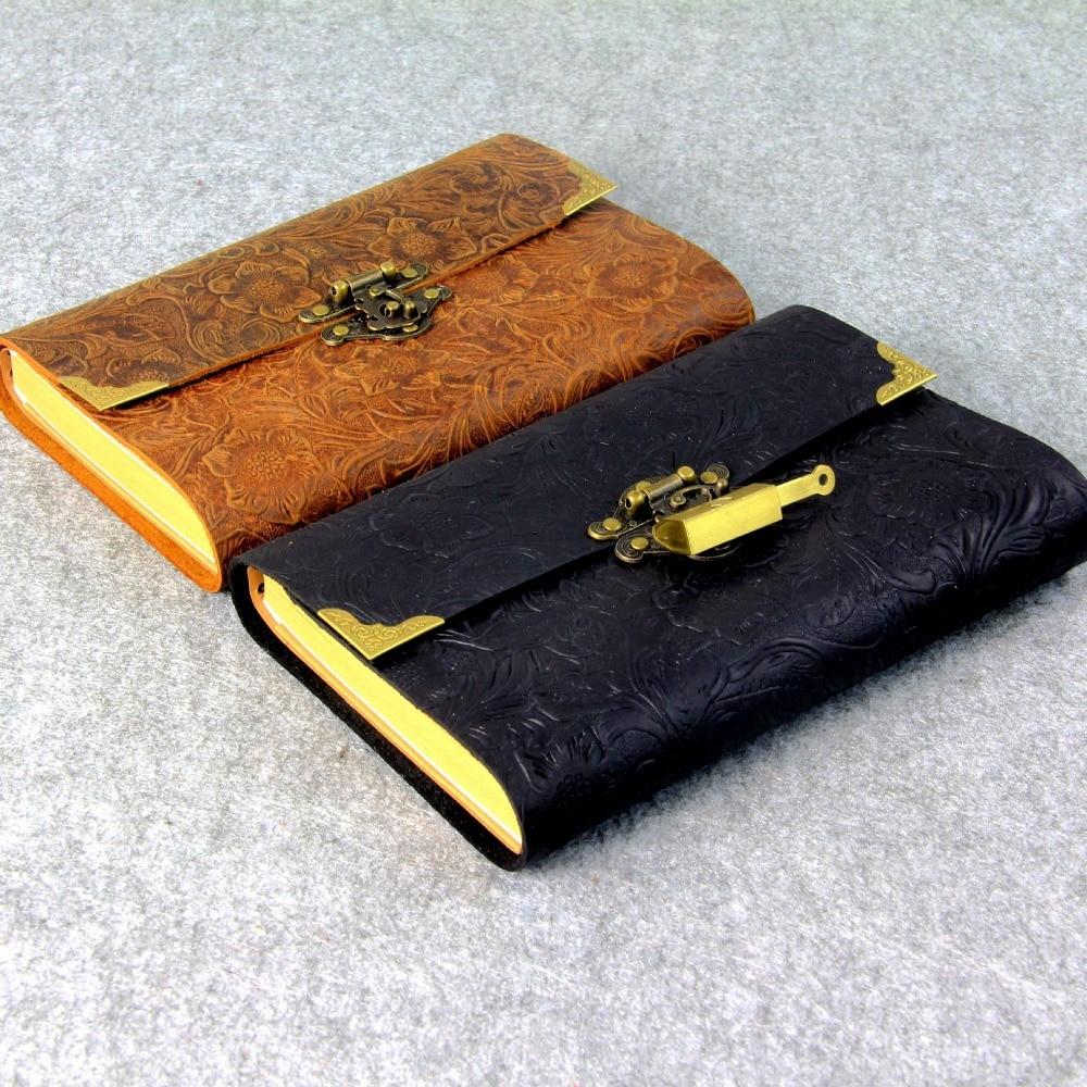 Daily with lock notebooks geniune leather notebook traveler journal filler planner kraft paper school supplies Vintage notebook
