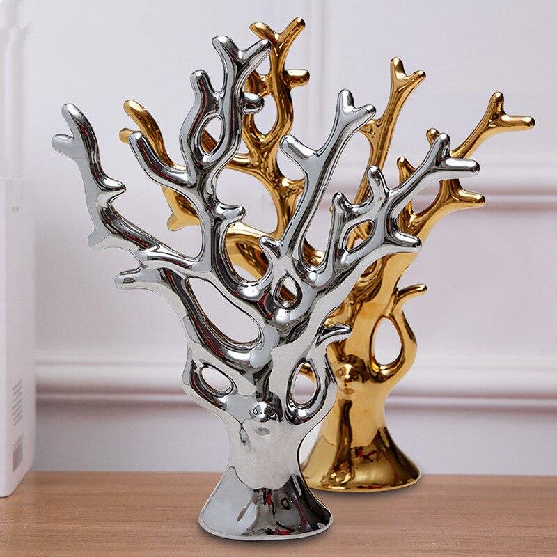 Simulation plante arbre Statue placage Pachira Aquatica Art moderne en céramique artisanat décoration d'intérieur maison cadeau de mariage L2947