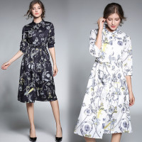 Women Fall 2017 European Fashion Prints Seven Point Sleeve Lapel All Match Long Dress Slim Vestidos
