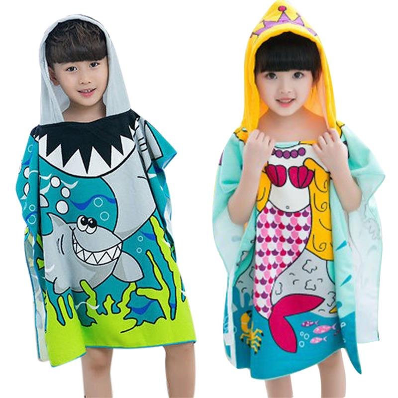 Baby Children Polyester Beach Cloak Towel Hooded Bath Towel Mermaid Shark Pattern Cartoon Bath Towel For  Baby Boys Girls