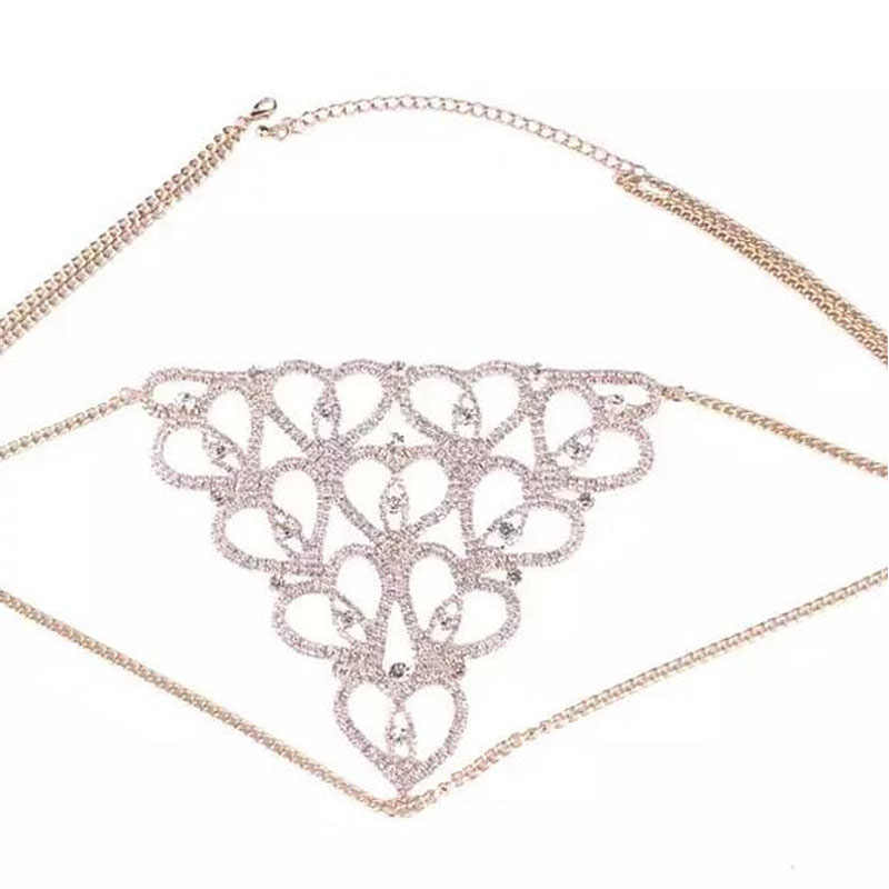 Stonefans seksi kalp Rhinestone vücut zincirler takı bel yuvarlak külot kadınlar için kristal iç çamaşırı tanga göbek zinciri takı