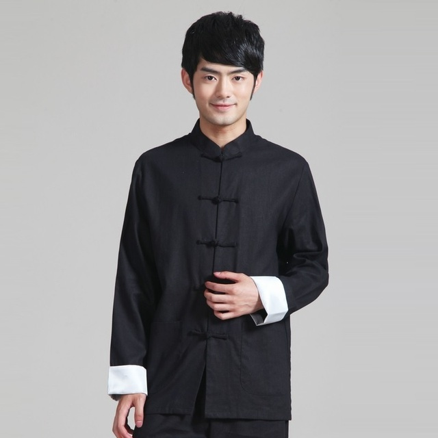98b214749 Chinese Wing Chun Kung Fu Uniform Martial Arts Tai Chi Tops Bruce Lee  Vintage Black Color Cotton Linen Shirts For Men