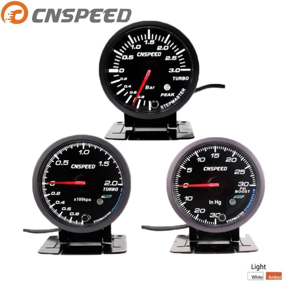 CNSPEED 2.5 inch 60mm Car Turbo Boost Gauge 2Bar / 3Bar / Psi White and Amber Dual Led Display with Peak Warning YC101410