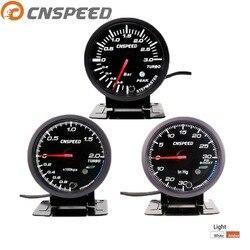 CNSPEED 2.5 cal 60mm turbo boost samochodu wskaźnik 2Bar/3Bar/Psi biały i bursztynowy podwójna lampa led wyświetlacz z szczyt ostrzeżenie YC101410 w Wskaźniki prędkości od Samochody i motocykle na