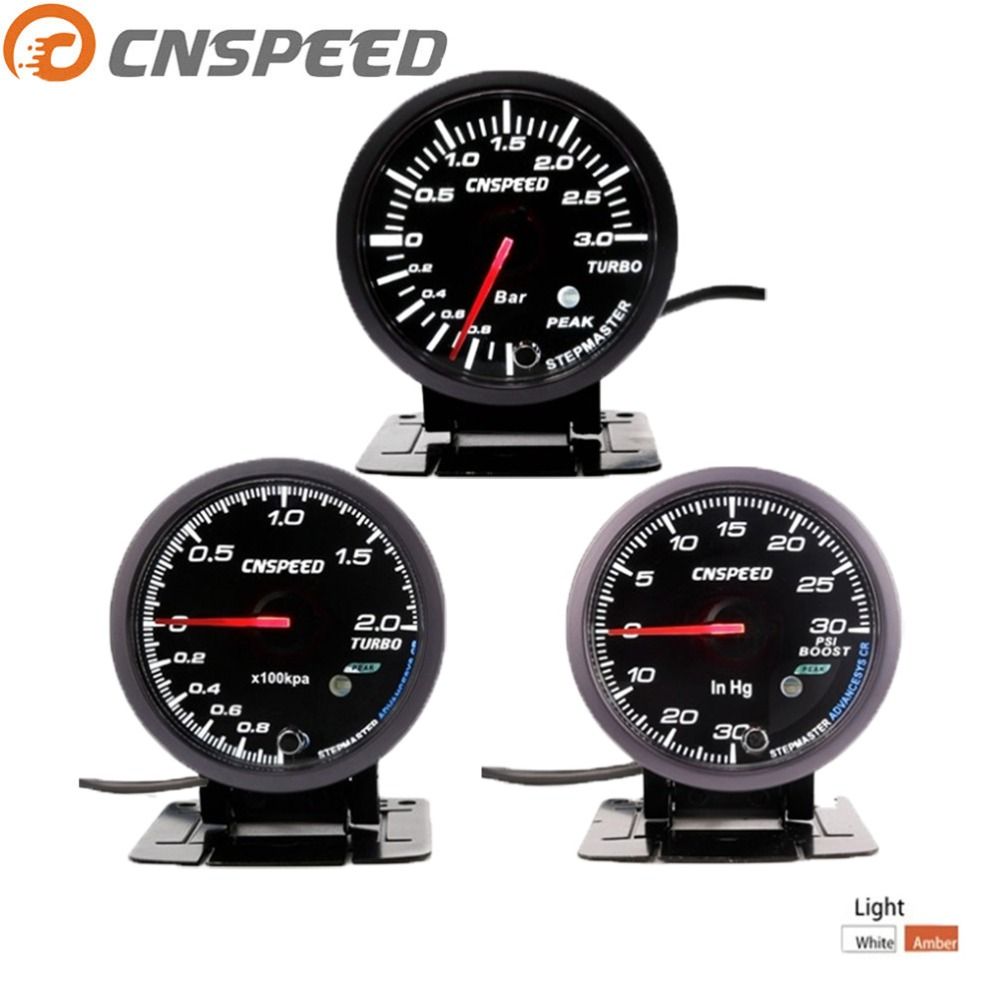 CNSPEED 2,5 дюйма 60 мм Автомобильный турбонаддув, 2 бар/3 бар/Psi белый и янтарный двойной светодиодный дисплей с пиПредупреждение лом YC101410