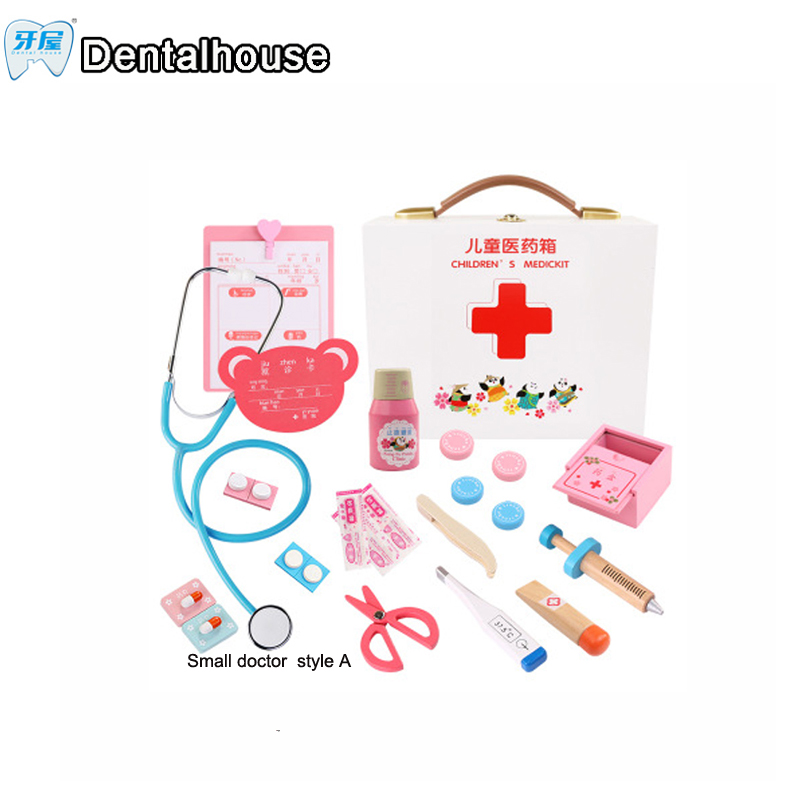Dental house pretend play toys wooden Funny sets Simulation Medicine Box Role Pretent Play Doctor small Doctor white box Style A pretend and play doctor set little doctor kids baby toddler children junior doctor nurses medical set kit role play toy