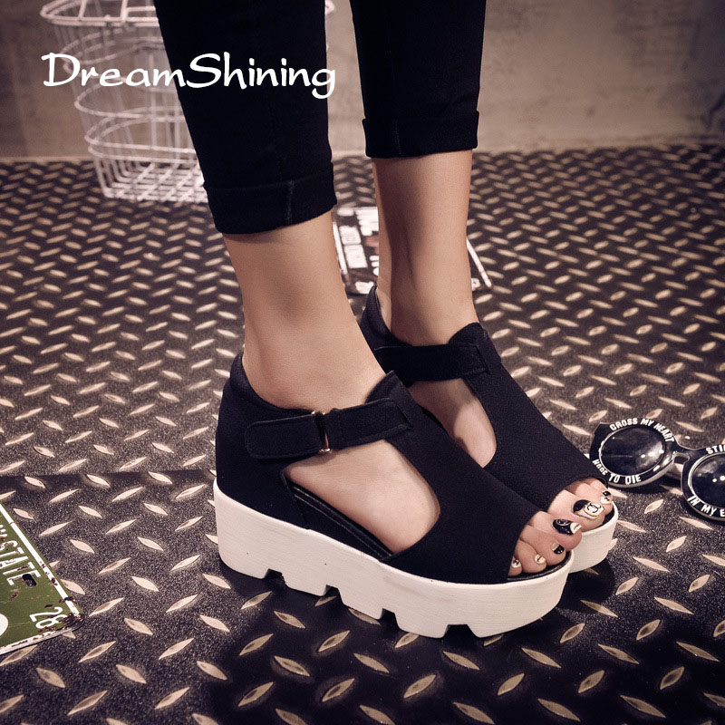 DreamShining New Women Summer Female Sandals Vintage High-Heeled Wedges Platform Shoes Peep Toe Sandal High Heels Fish Head Shoe 2016 summer new leather tendon at the bottom side of the empty fish head crude rainbow low heeled shoes women xtf039