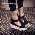 DreamShining Novas Mulheres de Verão Sandálias Femininas Cunhas Do Vintage de Alta-Salto Alto Sapatos de Plataforma Peep Toe Sandália de Salto Alto de Peixe Cabeça sapato