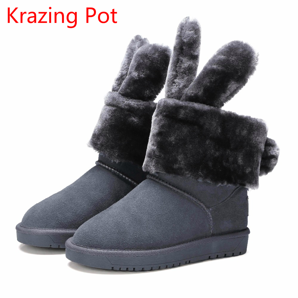 2018 New Arrival Cow Suede Flat with Rabbit Ear Keep Warm Large Size Platform Winter Boots Slip on Superstar Snow Boots  L99