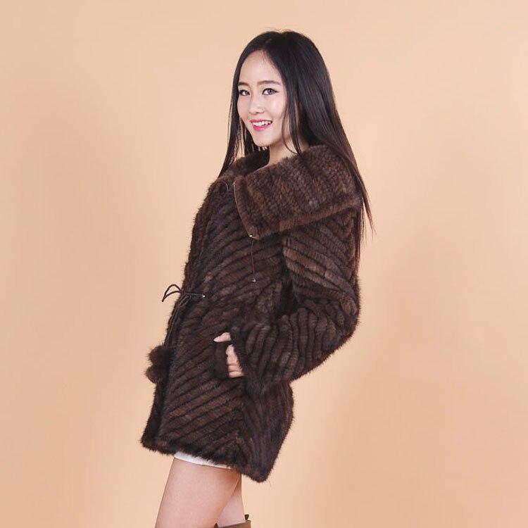 De Femmes Mme Revers Veste Vison Automne Mode Manteau Brown Tricot La D'hiver Vêtement Et Nouvelle Fourrure z6n1x