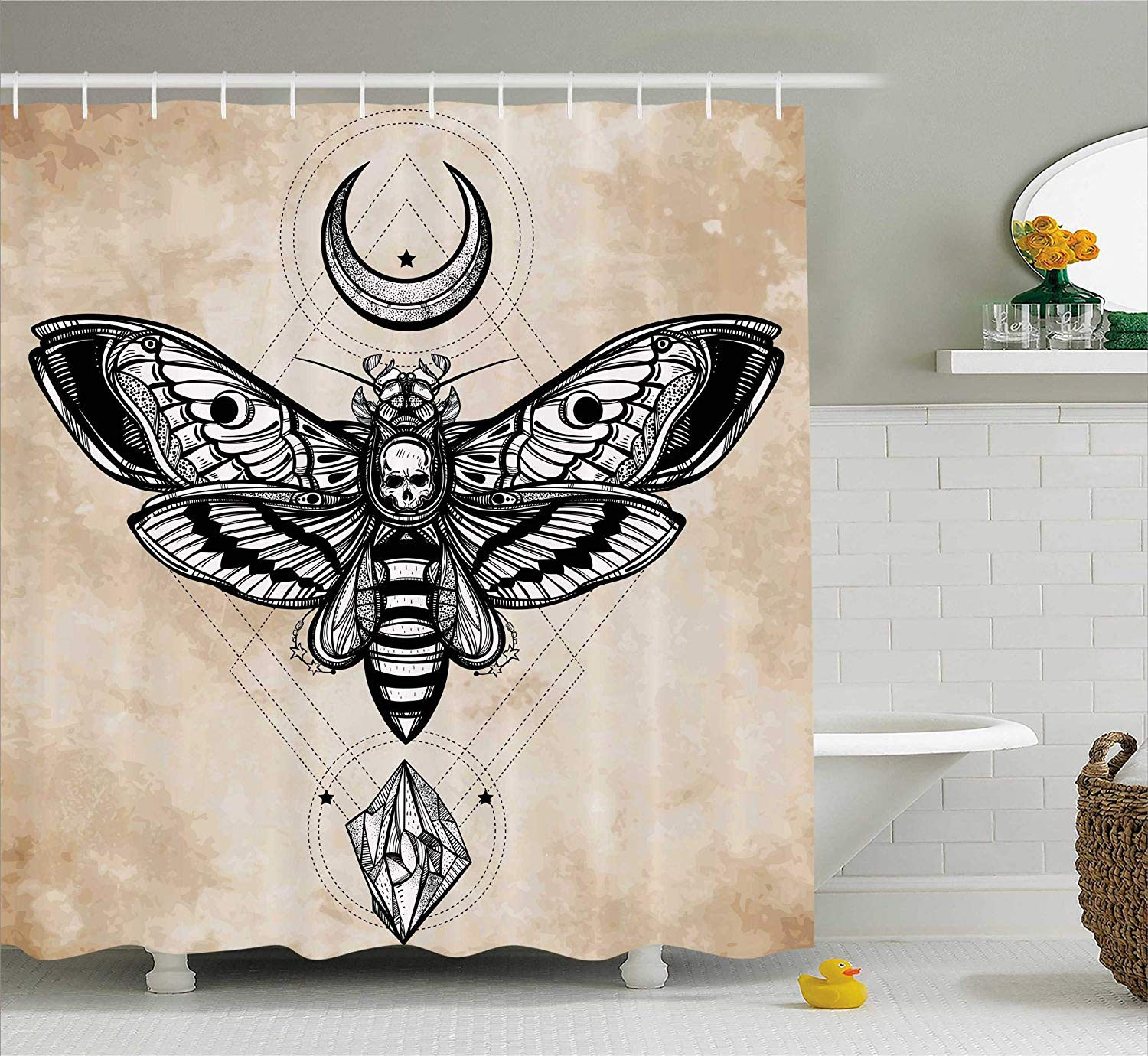Shower Curtain Set Dead Head Hawk Moth