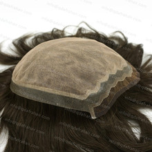 Brown Remy Hair Styles Swiss Lace In Front With Clear Poly Back And Side Top Silk Toupee H002