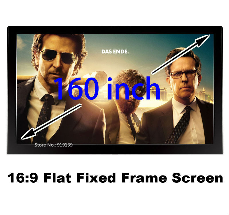 Huge Cinema Screen 160 Inch Flat Fixed Frame DIY Projection Screen 3D Projector Screen Fabric 16:9 Ratio low price 92 inch flat fixed projector screen diy 4 black velevt frames 16 9 format projection for cinema theater office room