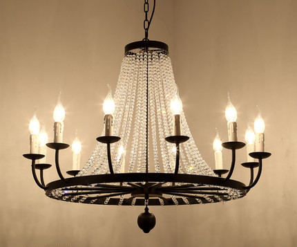 Vintage Elegant Black Crystal Chandelier Lustre Crystal Lighting for Living Room Bederoom Indoor E14 Led Chandeliers