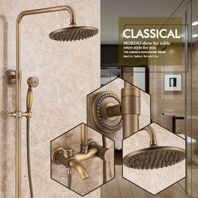 Vintage Bathroom Shower System Antique Brass Tub Shower Faucet