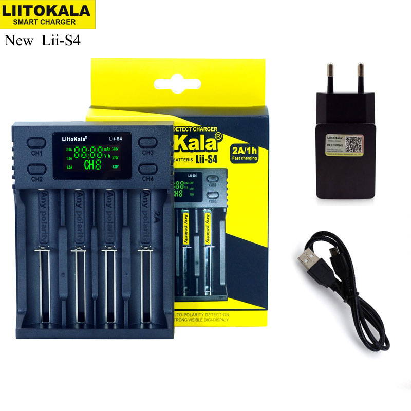 NEW Liitokala Lii S2 S4 PD4 402 202 100 18650 Battery Charger 1.2V 3.7V 3.2V AA21700 NiMH li ion battery Smart Charger+ 5V plug-in Chargers from Consumer Electronics