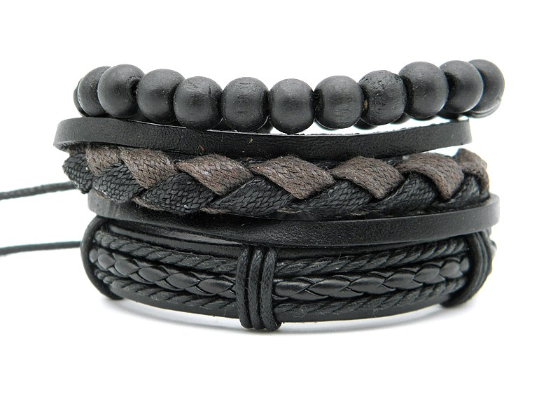 Stylish leather Braid Hemp bracelets Men's Women's Handmade Wood Beads leather Wrap Combined bracelets Jewelry Gifts 3pcs/set 14
