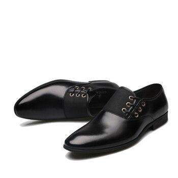 NPEZKGC Genuine Leather Men Oxford Shoes, Lace-Up Business Men Shoes, High Quality Men Dress Shoes Men Flats