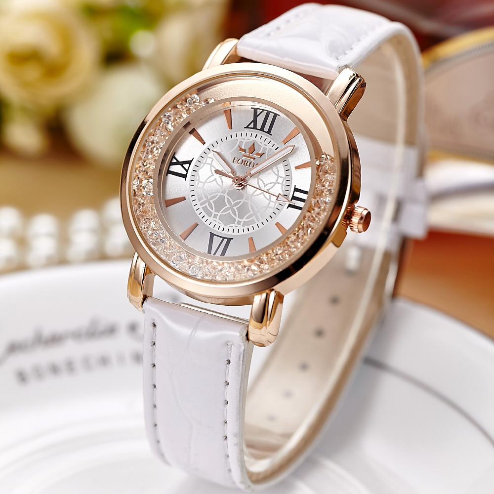 FORON Luxury Women Crystal font b Dress b font Watches Top Brand Fashion Quartz Watch Genuine