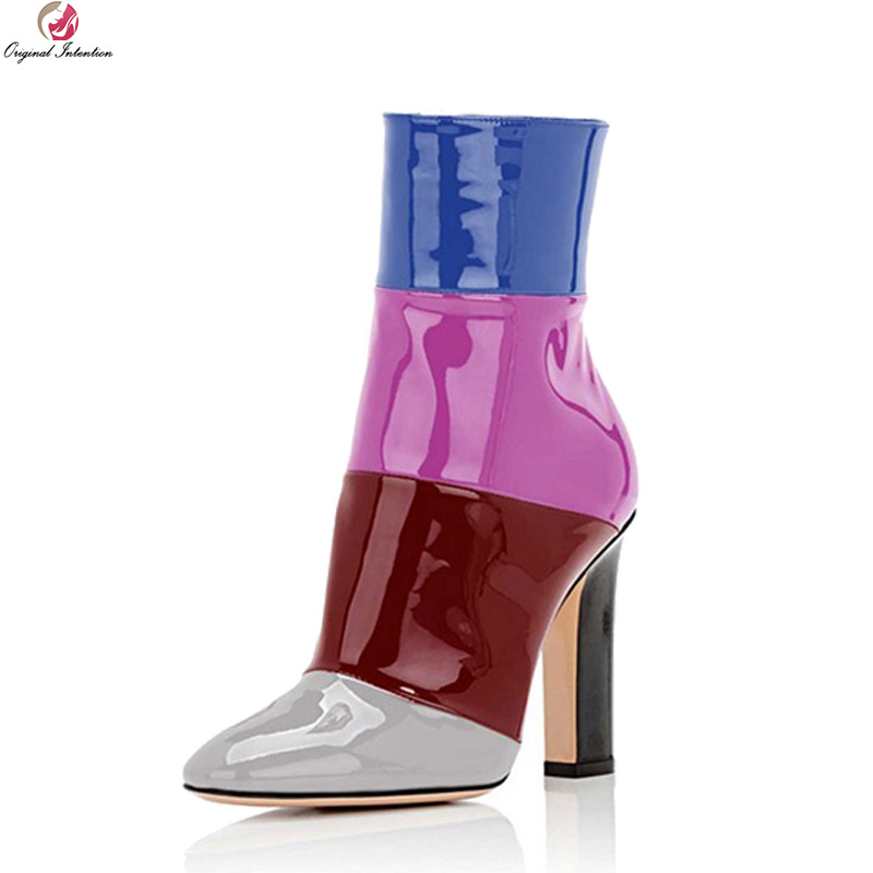 Original Intention Stylish Women Ankle Boots Round Toe Square Boots Black Grey Wine Red White Nude