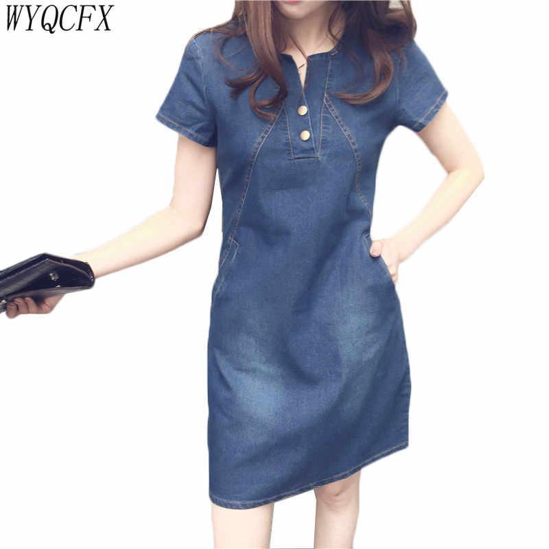 2019 модное джинсовое платье женские летние сексуальные повседневные джинсовые платья плюс размер 5XL v-образный вырез тонкий короткий рукав карман Vestidos Feminino