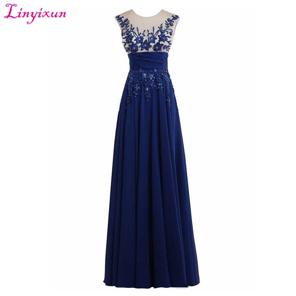 Linyixun Photo réelle Corset bleu Royal en mousseline de soie robes de bal 2017 élégant Long Sexy tapis rouge pas cher robes de soirée formelles