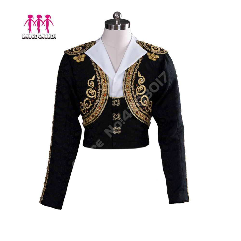 Black Gold Professional Male Ballet Stage Tops Man's Ballet Dance Jacket Competition Outwear Boy's Ballet Tunic Coat B010