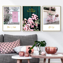 Pink Maiden Garden Wedding Room Flower Green Plant Bicycle Wall Art Canvas Poster Nordic Picture for Living Decor