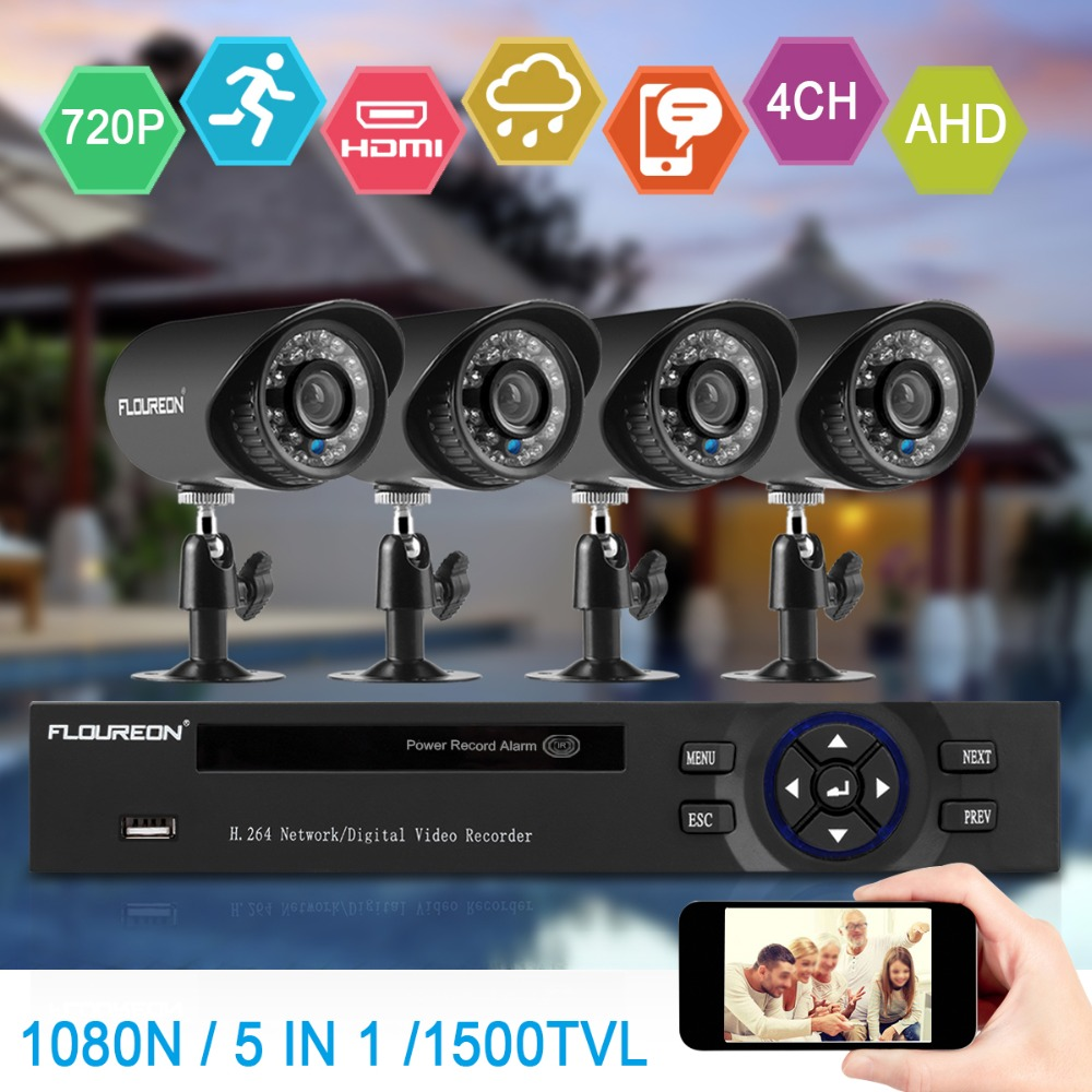 4CH 5in1 HDMI 1080N DVR Outdoor IR-CUT Camera Home Security System Motion Alarm